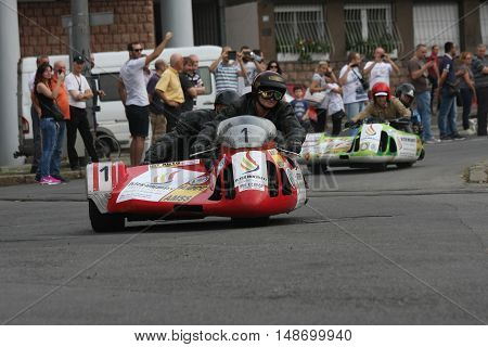 BELGRADE,SERBIA - SEPTEMBER 10, 2016: Oldtimer sidecar motorcycles at the commercial race of old cars in memory of formula 1 race held on the same place in 1939 two days after the beginning of Second World War when the famous Italian driver Tazio Nuvolari