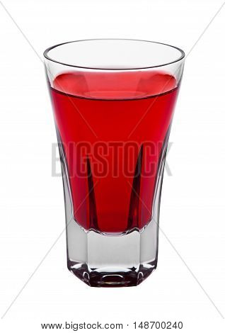 Red cocktail alcohol drink in elegant glass isolated on white