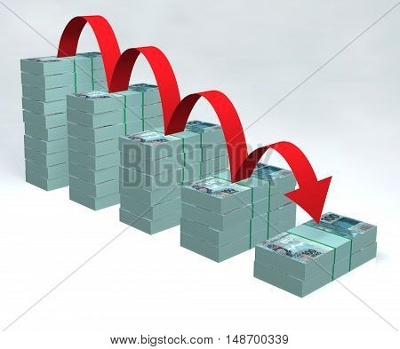 Brazilian currency 3D real cash money pilled Brazil economy