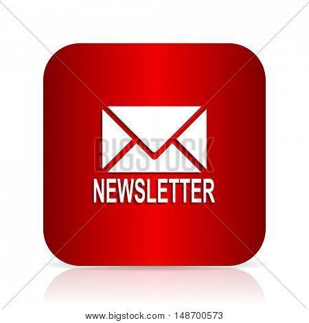 newsletter red square modern design icon