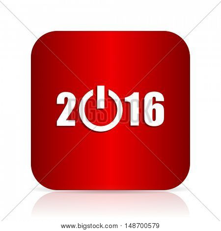 year 2016 red square modern design icon