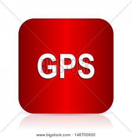 gps red square modern design icon
