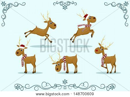 isolated vector set of reindeer deer in Christmas caps and scarves standing jumping bent decoration flourishes frame snowflake Christmas New Year holiday merry smiling