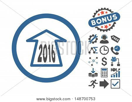 2016 Ahead Arrow icon with bonus design elements. Vector illustration style is flat iconic bicolor symbols cobalt and gray colors white background.