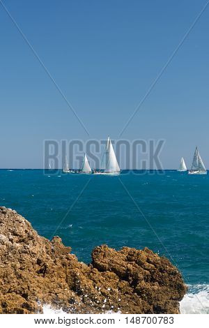 Sail boats in the sea near Antibes, France