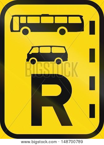 Temporary Road Sign Used In The African Country Of Botswana - Reserved Lane For Buses And Mini-buses