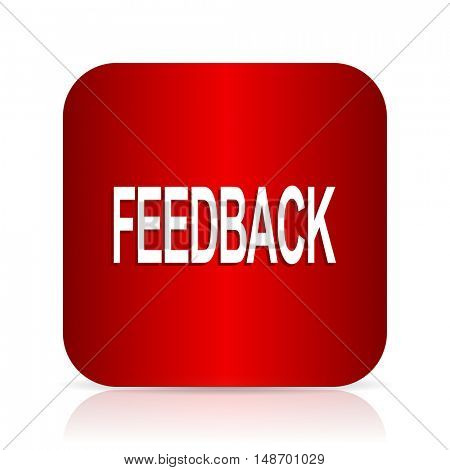 feedback red square modern design icon