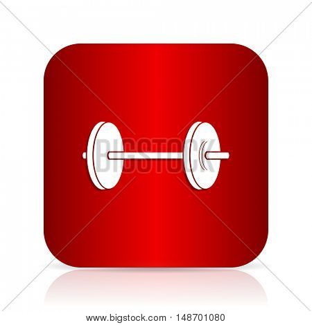 fitness red square modern design icon