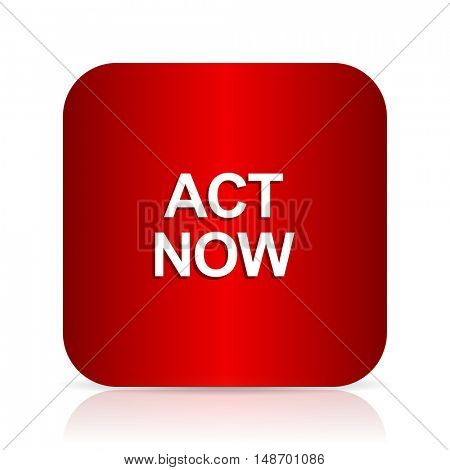 act now red square modern design icon
