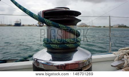 close up from a sailing winch on sal island