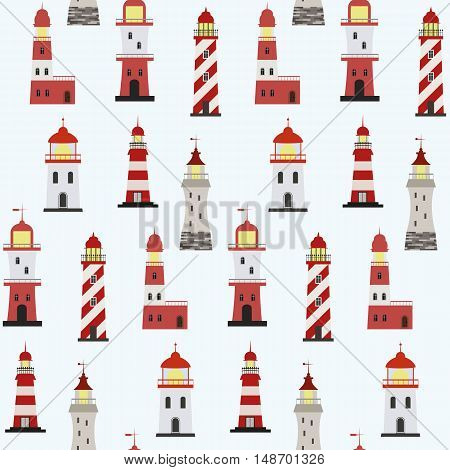 Seamless marine pattern with red and white lighthouses on light background.