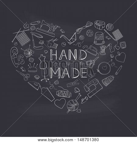 Vector sewing equipment and needlework icons set in heart shape on black background.