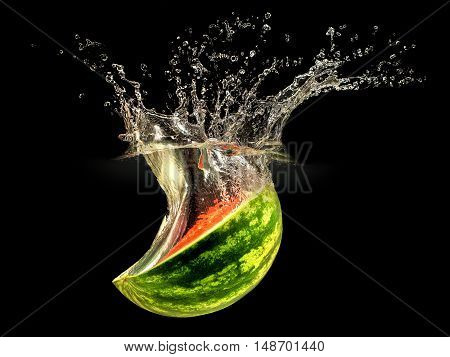 Fresh melon falling in water with splash on black background.