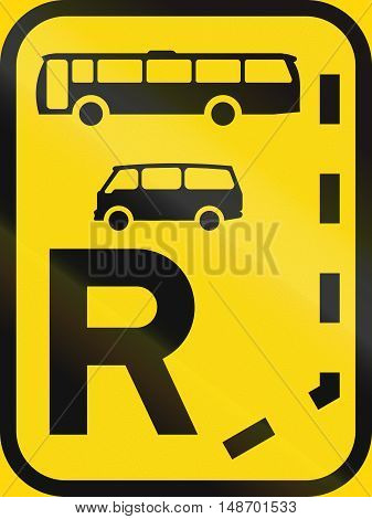 Temporary Road Sign Used In The African Country Of Botswana - Start Of A Reserved Lane For Buses And
