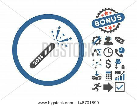 2016 Firecracker icon with bonus pictures. Vector illustration style is flat iconic bicolor symbols cobalt and gray colors white background.