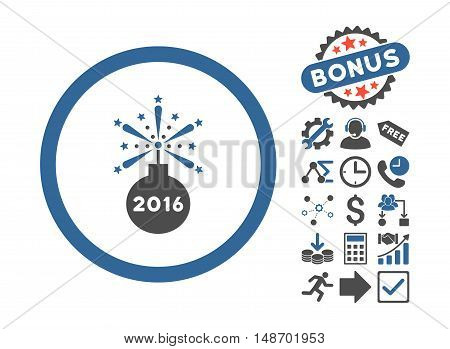 2016 Fireworks Detonator pictograph with bonus symbols. Vector illustration style is flat iconic bicolor symbols cobalt and gray colors white background.