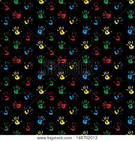 Seamless pattern hand print colored. Child hand print and kids hand print. Vector illustration
