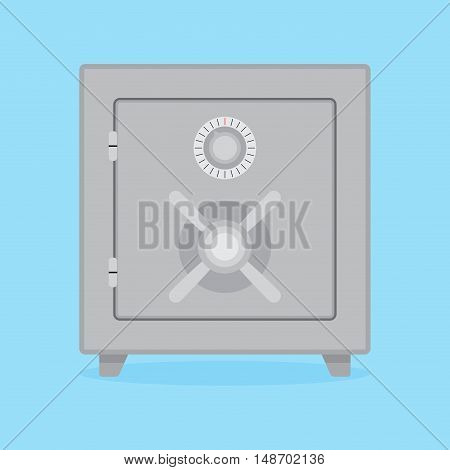 Metal safe flat concept. Safety and security protection and vault lock bank safe for money. Vector illustration