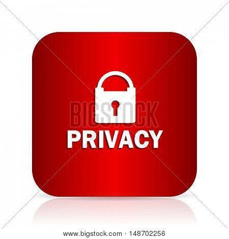 privacy red square modern design icon