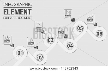 ELEMENT FOR INFOGRAPHIC TEMPLATE GEOMETRIC FIGURE OVERLAPPING CIRCLES SIXTH EDITION WHITE