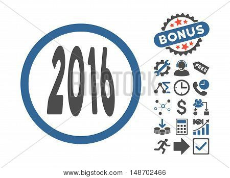 2016 Perspective icon with bonus clip art. Vector illustration style is flat iconic bicolor symbols, cobalt and gray colors, white background.