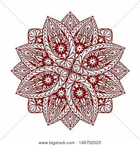 Mandala. Decorative ethnic floral ornament. Vector illustration isolated on white background