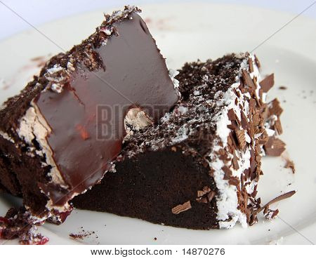Chocolate cake sweet desert slices on white plate