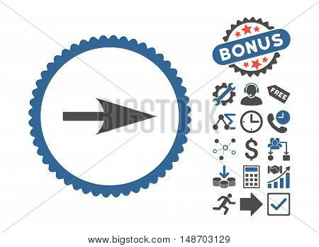 Arrow Axis X icon with bonus icon set. Vector illustration style is flat iconic bicolor symbols, cobalt and gray colors, white background.