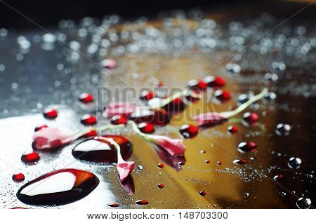 Background with large red drops. Focus on a foreground.