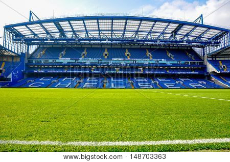 London, UK - October 16, 2011: Stand of Stamford Bridge, home ground of Chelsea F.C.