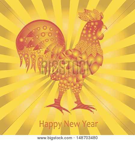 Post card Happy New Year. Red rooster on gold rays background, vector illustration