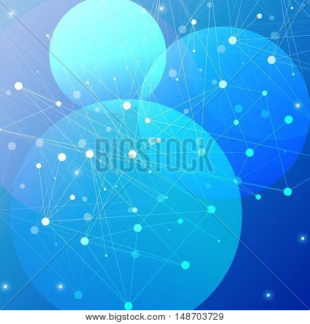 Structure molecule orb and communication Dna, atom, neurons. Science concept for your design. Connected lines with dots. Medical, technology, chemistry, science background. Vector illustration in blue