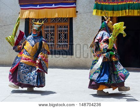 LAMAYURU, INDIA - JUNE 17, 2012: Buddhist monks in Deer mask dancing Cham mystery during Yuru Kabgyat festival at Lamayuru Gompa in Ladakh, Jammu and Kashmir, North India