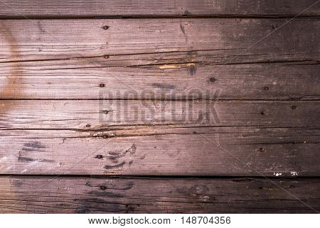 Old rustic wooden table, background, top view, copy space