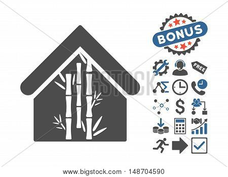 Bamboo House pictograph with bonus pictograph collection. Vector illustration style is flat iconic bicolor symbols, cobalt and gray colors, white background.