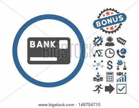 Bank Card icon with bonus icon set. Vector illustration style is flat iconic bicolor symbols, cobalt and gray colors, white background.