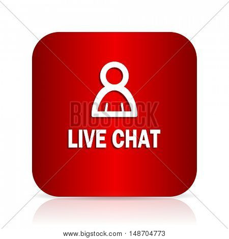 live chat red square modern design icon