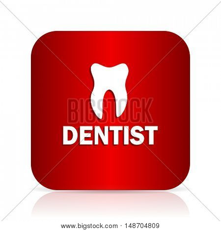 dentist red square modern design icon