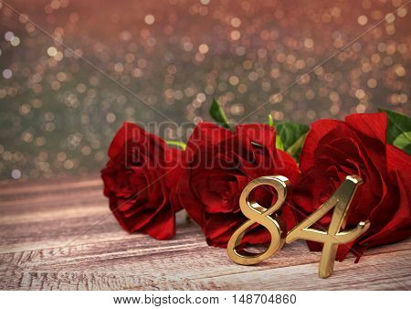 birthday concept with red roses on wooden desk. 3D render - eighty-fourth birthday. 84rd