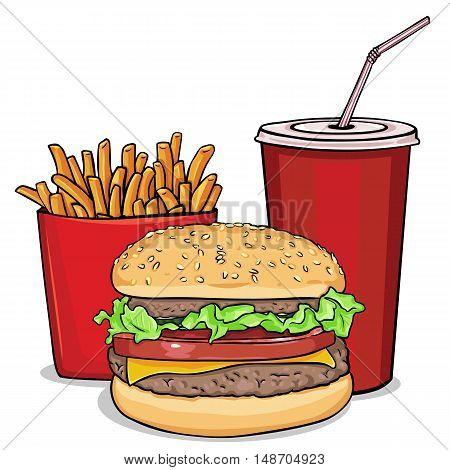 Vector Cartoon Fast Food Combo
