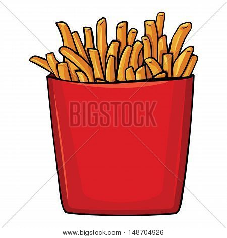 Vector Cartoon French Fries In Red Carton