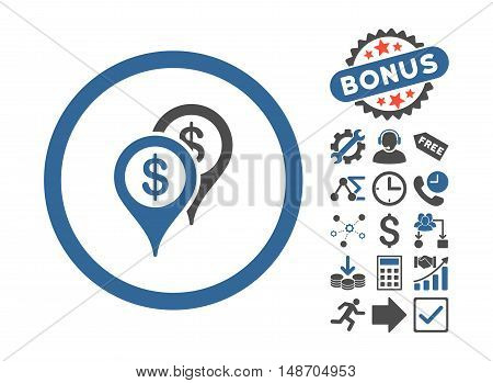 Bank Places icon with bonus elements. Vector illustration style is flat iconic bicolor symbols, cobalt and gray colors, white background.