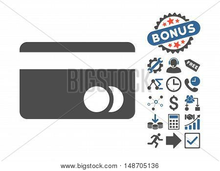Banking Card pictograph with bonus icon set. Vector illustration style is flat iconic bicolor symbols cobalt and gray colors white background.