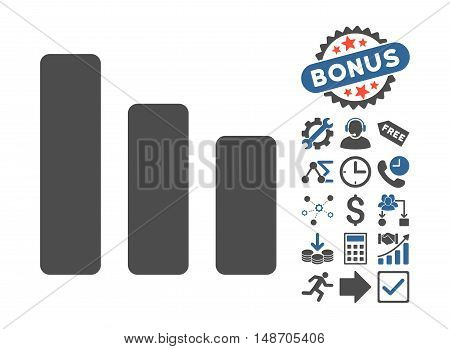 Bar Chart Decrease pictograph with bonus design elements. Vector illustration style is flat iconic bicolor symbols cobalt and gray colors white background.