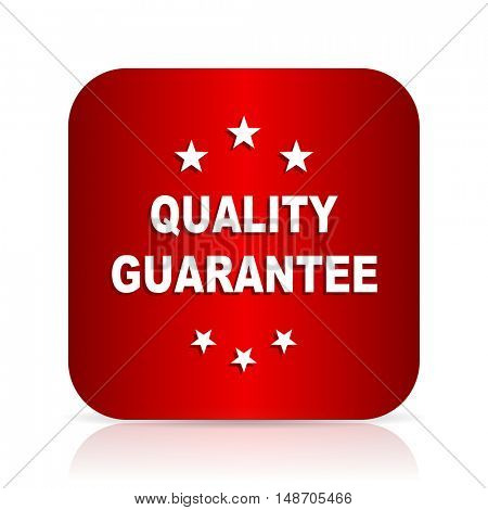 quality guarantee red square modern design icon