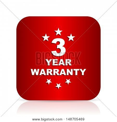 warranty guarantee 3 year red square modern design icon