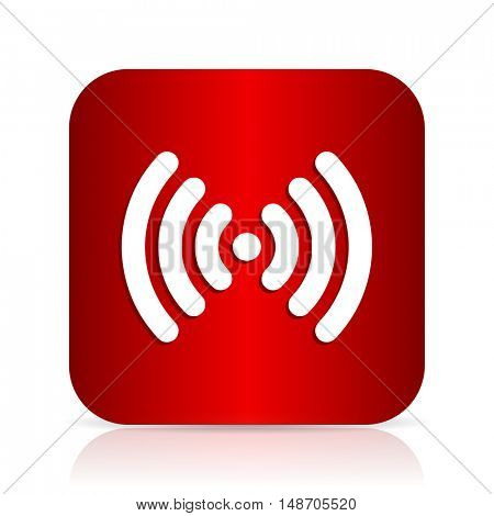 wifi red square modern design icon
