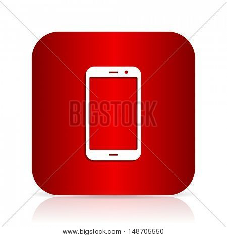 smartphone red square modern design icon