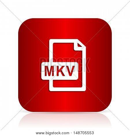 mkv file red square modern design icon