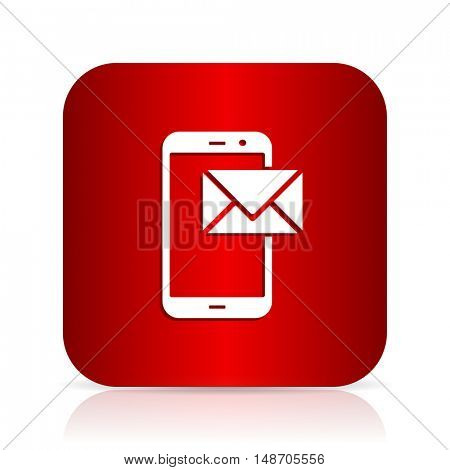 mail red square modern design icon